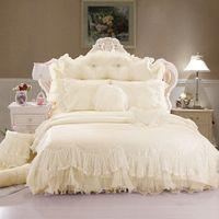 edredones morados al por mayor-Lujo 100% crema de algodón rojo rosa púrpura encaje ropa de cama funda nórdica cama falda almohadas caso 4/6 / 8pcs / king / queen tamaño doble