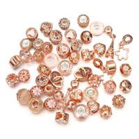 glasperlen große löcher großhandel-Neuer Charme wulstige 50pcs / pack 10 Farben 135g Kristallglas-Legierungs-großes Loch-europäische und amerikanische Art- und Weisearmband-Halsketten-Zusatz-Korne