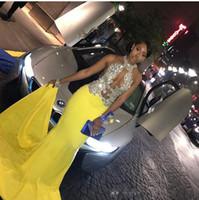 vestido de fiesta de corte amarillo al por mayor-2019 Recortable Noche Vestidos de baile Chifón Halter Frente abierto con cuentas de lentejuelas Amarillo africano Vestido formal Vestido de noche atractivo