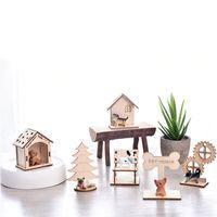 Wholesale build wooden house online - 3D Wooden Pet House DIY Puzzle Assembling Toy Imitation Pets Home Simulation Animal Decoration Practical Boy Girl sr D1