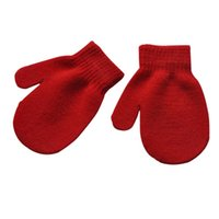 варежки для детей оптовых-Unisex Kids Girl Boy Knitting Warm Soft Gloves Child Candy Colors Cute Mittens Autumn Winter HT