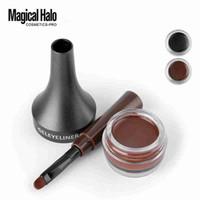 creme mágico venda por atacado-Magical halo maquiagem à prova d 'água bloqueio cor creme sobrancelha gel lápis 2 cores sobrancelha matiz marrom 3D natural sobrancelha caneta com escova