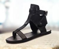 nuevo verano sandalias de tacón bajo al por mayor-Cabeza redonda 2019 verano nuevas sandalias romanas de cuero para mujer sandalias de tacón bajo de moda de tacón bajo para estudiantes salvajes