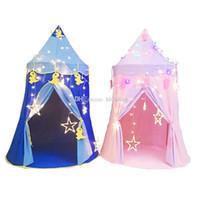 kapalı prenses çadırları toptan satış-Çocuk Çocuk Oyun Çadırları Açık Katlanır Taşınabilir Oyuncak Çadır Kapalı Açık Altıgen kale Prenses Prens wigwam Yurts C6233