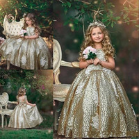 Wholesale glitz wedding dresses resale online - 2019 Glitz Gold Sequins Flower Girls Dresses Sequined Appliques Sleeveless Bow Floral Birthday Dresses First Communion Girls Pageant Gowns