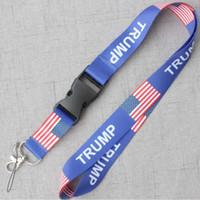 boyunluk malzemeleri toptan satış-ABD TRUMP Ulusal Bayrak Logosu Spor kordon KIMLIK Kartı Boyun anahtar Zincirleri Dizeleri Aksesuar için Cep Telefonu İpi Tuşları Tutucu Kayış Kaynağı B71604