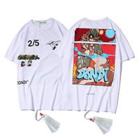 tshirt marques soldes achat en gros de-Vente Nouveau Off Hommes T-shirts Marque D'été Noir Blanc Designer Lettre DONDI Impression De Mode T-shirt À Manches Courtes Hommes Femmes Coton Tops