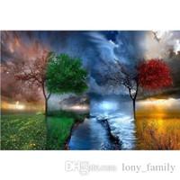 ağaç duvar resimleri toptan satış-50 * 28 cm 4 Sezon Ağacı Elmas Nakış 100% Tam 5D Elmas Boyama Kiti Decoración Del Hog Ev Dekor Duvar Sanatı Tuval Resimleri
