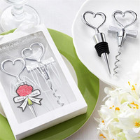 Wholesale wedding souvenirs gift resale online - Love Heart Shape Wine Corkscrew Bottle Opener Stopper Sets Wedding Souvenirs Guests Gift Party Favor Wedding Giveaways Gift EEA196