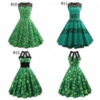 balançoire verte achat en gros de-St. Patrick's Day dress Vert sans manches Patchwork Trèfle Robe Soirée Swing Robes A-ligne Clubwear 13 Modèles MMA1378 30pcs