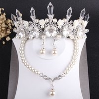 Wholesale bridal jewelry sets pearls silver resale online - Charming Silver Pearls Bridal Jewelry Sets Pieces Suits Necklace Earrings Tiaras Crowns Bridal Accessories Wedding Jewelry Sets T306680