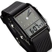 часы двойные цифровые часы оптовых-Skmei Мода Мужчины Спортивные Часы Dual Time Цифровой Кварц 30 м Водонепроницаемый LED Красочная Подсветка Повседневная Одежда Мужчины Наручные Часы