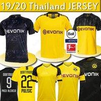 camiseta de fútbol 4xl al por mayor-Tailandia BVB Borussia Dortmund camiseta de fútbol 18 19 20 GOTZE REUS PULISIC Witsel Jersey Paco Alcácer jerseys fútbol los hombres camisa de los niños