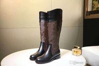 Wholesale ladies brown lace up boots for sale - Pop Branded Women Patent Canvas Boots Twist Buckle Wonderland Flat Ranger Designer Lady Plain Leather Rubber Outsole Ankle Boots