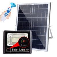 Wholesale garden solar panels lighting resale online - 10W W W W W Solar Flood Light Waterproof IP67 LED Outdoor Floodlight Solar Powered Panel LED Garden Wall Lamp With Charging Display