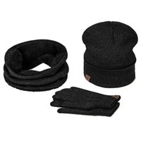 Wholesale smart scarf resale online - Winter Warm Hat Beanie thick infinity Scarf Smart Touch screen Texting Gloves Set Knitted Cotton Hat Solid Neck Collar Unisex