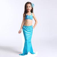 ingrosso children s beach swimsuit-3 PZ Little Mermaid Tails per Costume da bagno Mermaid Tail Cosplay Ragazze Costume da bagno Bambini Bambini Ruffles Beach Costumi da bagno Abbigliamento