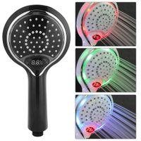 banyo duş aydınlatma toptan satış-Fdit Otomatik LED Işık Duş Başlığı 3 Renk LED El Banyo Dijital Sıcaklık Göstergesi Duş Sprey Kafası Su Tasarrufu