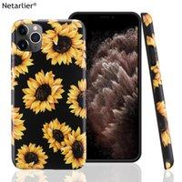 Wholesale sunflower phone case online – custom New Arrival Sunflower Phone Case For iPhone11 Pro Max Good Quality Protective Thick IMD Soft Matte Black Case Cover