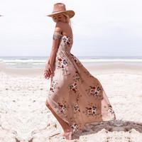 vestir fuera del tubo al por mayor-Verano más el tamaño de las mujeres sin tirantes de impresión maxi dress pecho envolver fuera del hombro tubo largo bohemio vestidos de playa ropa de vacaciones de playa c42207