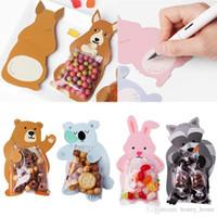 ingrosso scatola offset-Animale 10 pz / lotto Baby Shower Festa di compleanno Sacchetti regalo carino Sacchetti di caramelle Sacchetti di biscotti Orso Scatola di caramelle Biglietti di auguri Coniglio popolare