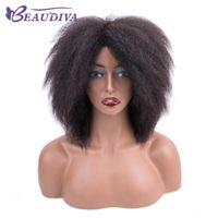 perruques naturelles et abordables achat en gros de-Top Qualité Perruques de Cheveux Humains Afro Kinky Droit Cap 8 Pouce Remy Naturel Cheveux Humains Régulier Abordable Machine Fait Perruque