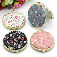 Wholesale flower making supplies resale online - New Arrivals Flower Pattern Printing Portable Double Sided Folded Mirrors Make Up Tools Supplies Girls Birthday Gift