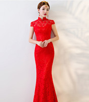 Wholesale lace qipao wedding dress for sale - Group buy Red Bride Party Cheongsam Oriental Wedding Evening Dress Chinese Traditional Womens Qipao Sexy Lace Long Robe Retro Vestidos