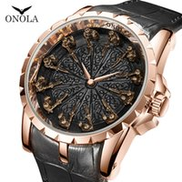 Wholesale pin unique gift resale online - ONOLA brand unique quartz watch man luxury rose gold leather cool gift for man watch fashion casual waterproof Relogio Masculino