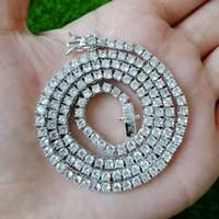 colares de 16 polegadas para mulheres venda por atacado-16 18 20 22 24 polegadas 3mm congelado para fora colares cadeias Fow homens mulheres designer de luxo bling do colar de diamantes de prata de ouro cadeia de ténis jewlery