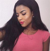 african american glueless peruklar toptan satış-Bliss Peruk İtalyan Yaki peruk Afro-amerikan Tam Dantel İnsan Saç Peruk En Tutkalsız Brezilyalı Sapıkça Düz Dantel Ön Peruk