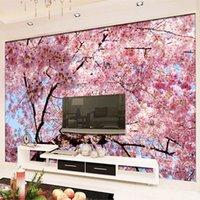 ingrosso carte di decorazione di sfondo-Personalizzato Murale Carta da parati 3D Cherry Blossoms Photo Wallpaper Camera da letto Soggiorno TV Sfondo Home Interior Decoration Wall Paper