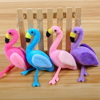 Wholesale wedding car plush resale online - Flamingo Plush Doll Keychains Wedding Promotion Small Gift Hang Bag Buckle Originality Cartoon Fashion Accessories Hot Sale hyE1