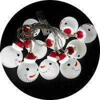 navidad lámpara batería cálido blanco al por mayor-Lámparas de plástico coloreadas Cadena Decoración de la fiesta de Navidad Festival blanco cálido Suministros para el hogar Baterías LED Muñecos de nieve Bombillas 9tl hh