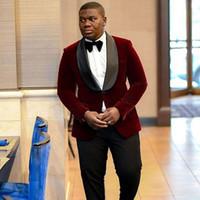 Wholesale royal blue velvet suit for men resale online - Custom Burgundy Groom Tuxedos Velvet Smoking Jacket Men Suits for Wedding Man Attire Slim Fit Man Blazer Prom Party Piece Terno Masculino
