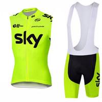 cuissard à bretelles maillot équipe ciel achat en gros de-SKY team cyclisme sans manches maillot gilet (bib) short définit vêtements de vélo de montagne pour hommes confortable et respirant camisa de ciclismo