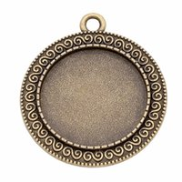 Wholesale pendant tray setting antique silver resale online - 10pcs Antique Bronze Silver Color mm Blank Flower Pendants Tray Cabochon Base Cameo Setting Jewelry Findings