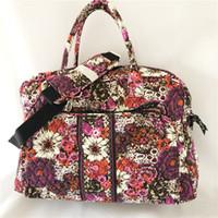Wholesale duffel bag for travel resale online - Cotton Travel Bag Iconic Weekender for Sales Playful Penguins Gray Retiried Pattern Weekenders Nomadic Floral Deluxe Weekender