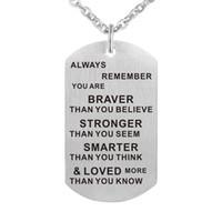 collar de joyas de bricolaje al por mayor-My Daughter Love Plates 316L colgantes de acero inoxidable collares para mujeres joyas con cadena y llavero DIY