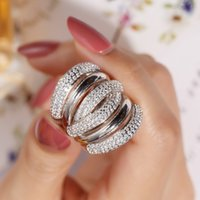 Wholesale jewelry for cocktail resale online - Big silver Cocktail Finger RING for women Luxury Gold Plated Simulated diamond painting full stone Ring Jewelry size