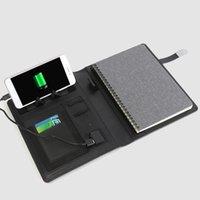 supports de câbles achat en gros de-NOUVEAU A5 business travel notebook planner with6000mAh / 8000mAh chargeur de batterie pliable téléphone portable stand rack câble cadeau