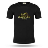 rote schwarze graue hemden großhandel-Neue 2019ss Sommer Premium Herren T Shirt Designer Luxus lässig Kurzarm O Kragen Baumwolle T Shirt Herren Marke weiß schwarz rot grau T Shirt