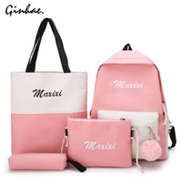 Wholesale cute girl pencil case for sale - Group buy 4Pcs Set Patchwork Backpack Girl Panelled School Bags Travel Canvas Rucksack Damen Shoulder Bag Letter Purse Cute Pencil Case