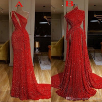 Wholesale sequin beading side split dress resale online - 2020 Sexy Burgundy Long Sleeve Red Sequin Mermaid Reflective Prom Dresses High Split Side Evening Gowns robe de soiree