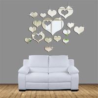 ingrosso autoadesivo della parete di amore 3d specchio-3D Mirror Love Hearts Wall Sticker Decal Adesivi Murali FAI DA TE per Soggiorno Stile Moderno Home Room Arte Murale Decor Rimovibile 801