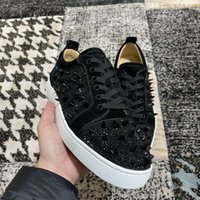 Wholesale casual men elegant shoes resale online - Elegant Black Suede Leather With Spikes Strass High Quality Red Bottom Men Sneakers Shoes Fashion Low Top Women Casual Walking EU35