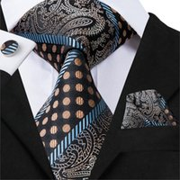коричневый шелк оптовых-Hi-Tie Top  Silk Necktie For Men Brown Striped Mens Ties High Quality Soft Feeling Jacquard Woven Formal Ties Gravata