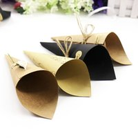 Wholesale tape kraft for sale - Group buy 50pcs Retro Kraft Paper Cones Bouquet Candy Chocolate Bags Boxes x15cm Wedding Party Gifts Packing with Tape Note Style SH190913