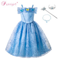 ingrosso ragazze di costume da cenerentola-Costumi Abito Pettigirl Summer Flower Party Girl Blu Cenerentola costume Fancy bambini party Halloween Cosplay GD50310-02