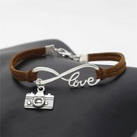 Wholesale men gothic silver bracelets for sale - Group buy 2019 New Punk Gothic Vintage Silver Infinity Love Camera Bracelet Bangles For Women Men Charm Dark Brown Leather Rope Cuff Jewelry Girl Gift